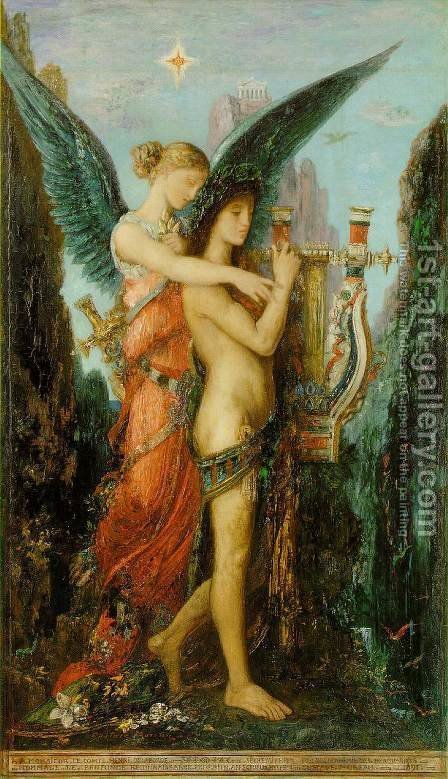 Hesiod and the Muse 1891 by Gustave Moreau - Reproduction Oil Painting