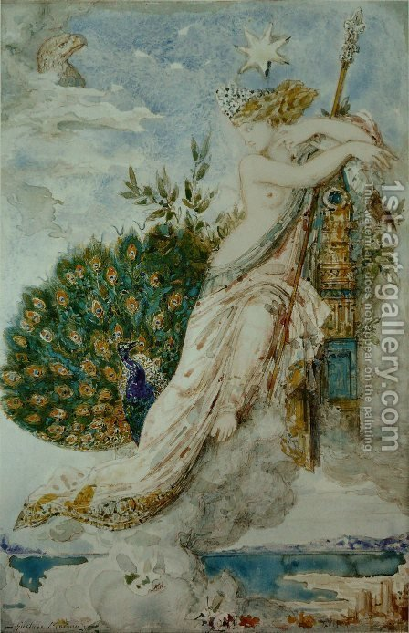 The Peacock Compaining to Juno 1881-81 by Gustave Moreau - Reproduction Oil Painting