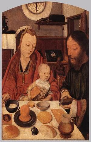 Famous paintings of The Holy Family: The Holy Family at Table 1495-1500