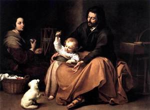 Famous paintings of The Holy Family: The Holy Family with a Bird 1650