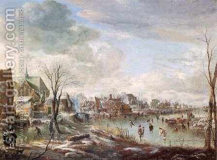 A Frozen River near a Village, with Golfers and Skaters 1648 by Aert van der Neer - Reproduction Oil Painting