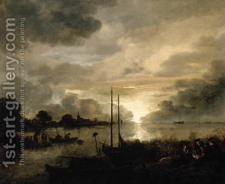 Estuary Landscape by Moonlight by Aert van der Neer - Reproduction Oil Painting