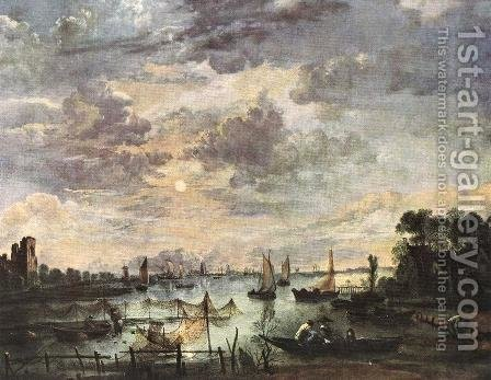 Fishing at Moonlight by Aert van der Neer - Reproduction Oil Painting