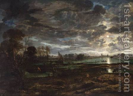 River Landscape c. 1650 by Aert van der Neer - Reproduction Oil Painting