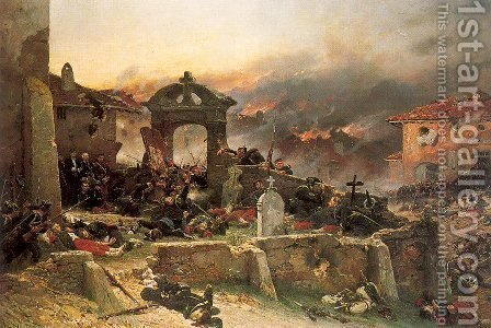 The Cemetery at St. Privat, August 18, 1870,   1881 by Alphonse de Neuville - Reproduction Oil Painting