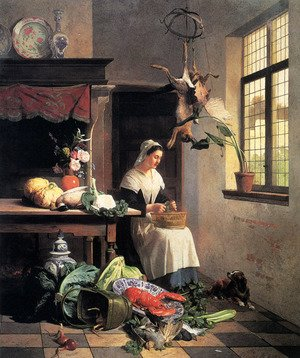 David Emil Joseph de Noter reproductions - A Maid in the Kitchen