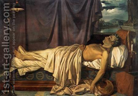 Joseph-Denis Odevaere: Lord Byron on his Death-bed c. 1826 - reproduction oil painting