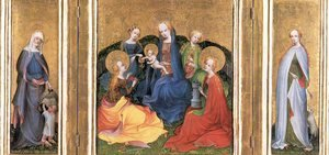 Master of the Older Holy Kinship Altar reproductions - Madonna and Child with Saints 1410-20