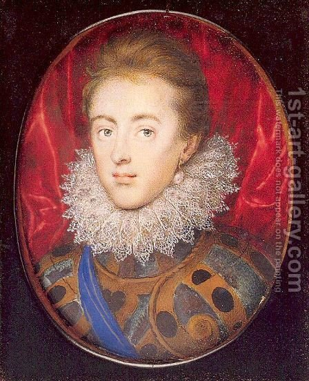Charles, Prince of Wales (Later Charles I) 1615 by Isaac Oliver - Reproduction Oil Painting