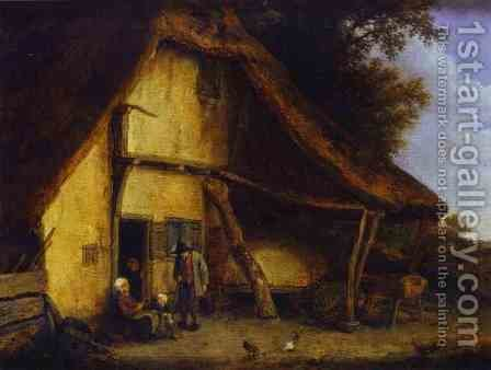 A Peasant Family Outside a Cottage 1668 by Adriaen Jansz. Van Ostade - Reproduction Oil Painting