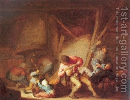 Drinking Figures and Crying Children 1634 by Adriaen Jansz. Van Ostade - Reproduction Oil Painting