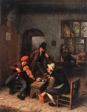 Famous paintings of Taverns: Interior of a Tavern with Violin Player