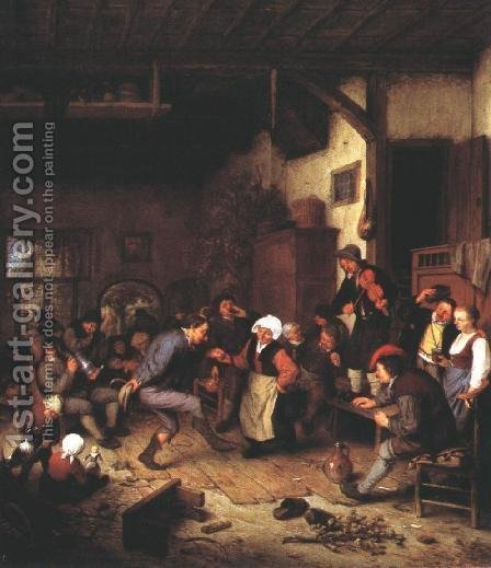 Merrymakers in an Inn 1674 by Adriaen Jansz. Van Ostade - Reproduction Oil Painting