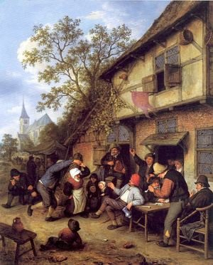 Famous paintings of Taverns: Merrymaking Outside an Inn