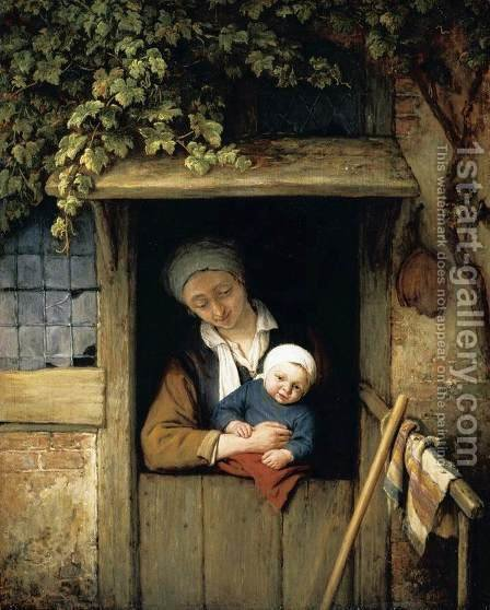 Mother Holding her Child in a Doorway 1667 by Adriaen Jansz. Van Ostade - Reproduction Oil Painting