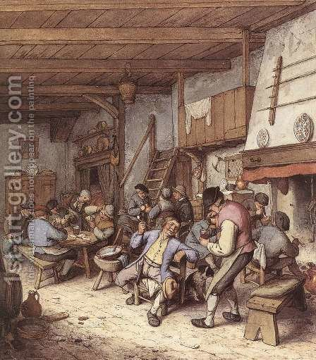 Tavern Interior 1680 by Adriaen Jansz. Van Ostade - Reproduction Oil Painting