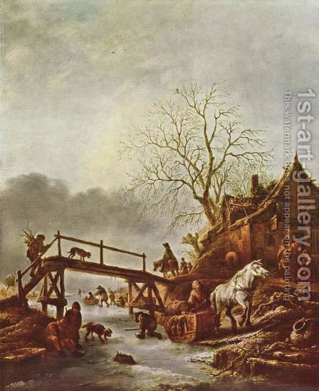 A Winter Scene c. 1645 by Isaack Jansz. van Ostade - Reproduction Oil Painting