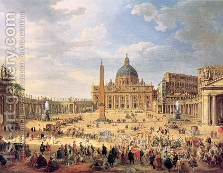 Departure of Duc de Choiseul from the Piazza di St. Pietro 1754 by Giovanni Paolo Pannini - Reproduction Oil Painting