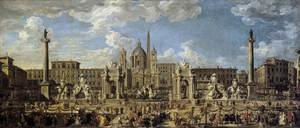 Famous paintings of Squares and Piazzas: Piazza Navona in Rome 1729