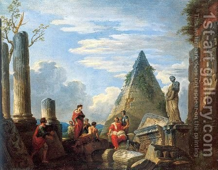Roman Ruins with Figures 1730 by Giovanni Paolo Pannini - Reproduction Oil Painting