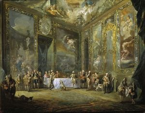 Rococo painting reproductions: Charles III Dining before the Court c. 1788