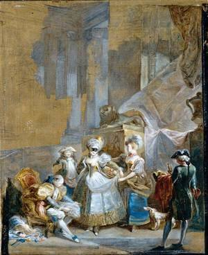 Rococo painting reproductions: Elegant Company Preparing for a Masked Ball 1770s