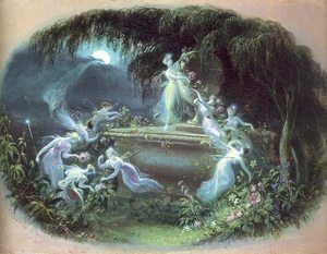 Famous paintings of Fairies: The Visit at Moonlight 1832