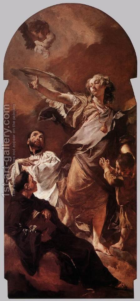 The Guardian Angel with Sts Anthony of Padua and Gaetano Thiene c. 1729 by Giovanni Battista Piazzetta - Reproduction Oil Painting