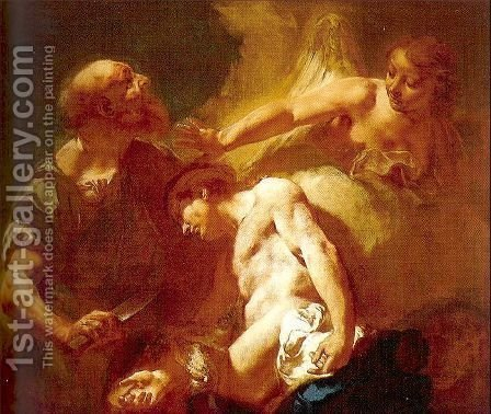 The Sacrifice of Isaac 1715 by Giovanni Battista Piazzetta - Reproduction Oil Painting