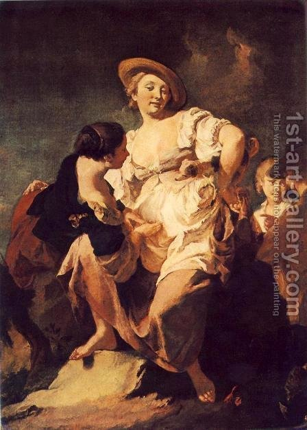 The Soothsayer 1740 by Giovanni Battista Piazzetta - Reproduction Oil Painting