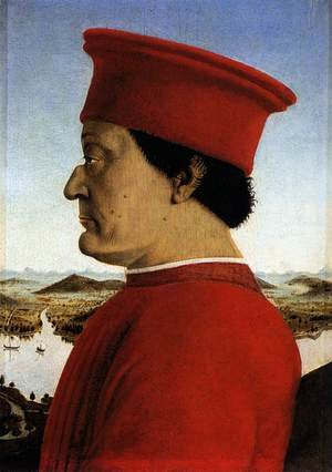 Famous paintings of Men: Portrait of Federico da Montefeltro 1465-66