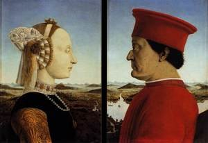 Famous paintings of Couples: Portraits of Federico da Montefeltro and His Wife Battista Sforza 1465-66