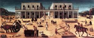 Famous paintings of Squares and Piazzas: The Building of a Palace 1515-20