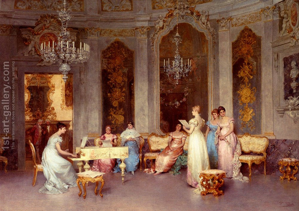 The Chess Game Painting By Francesco Beda Reproduction 1st Art Gallery