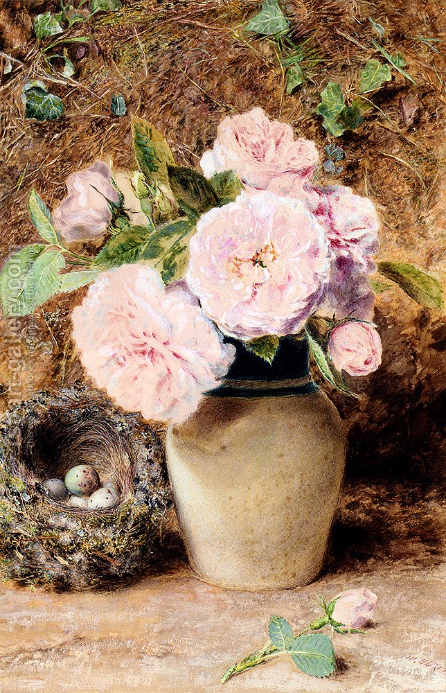 Still Life With Roses In A Vase And A Birds Nest William Henry Hunt