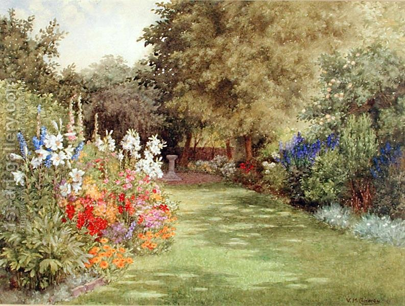 A garden in july violet common reproduction 1st for Garden painting images