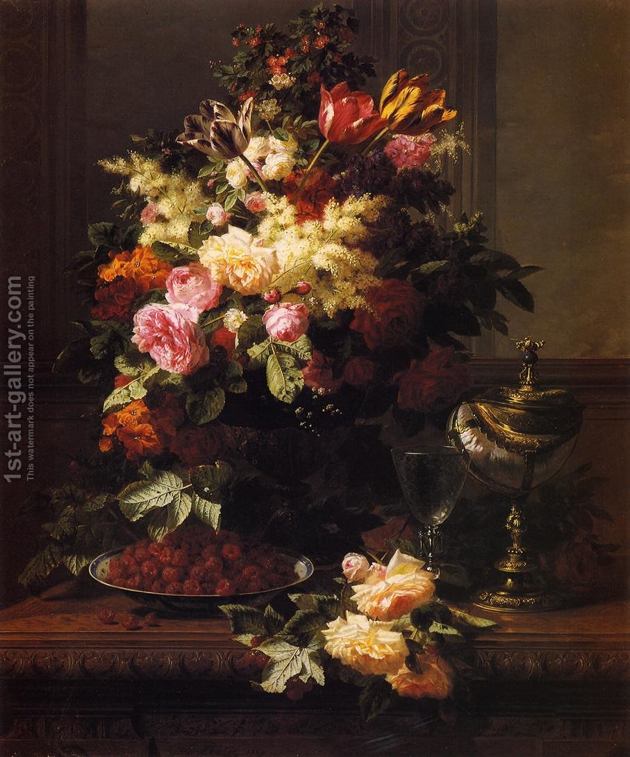 A still life of roses tulips and other flowers on a german compote a still life of roses tulips and other flowers on a german compote a izmirmasajfo