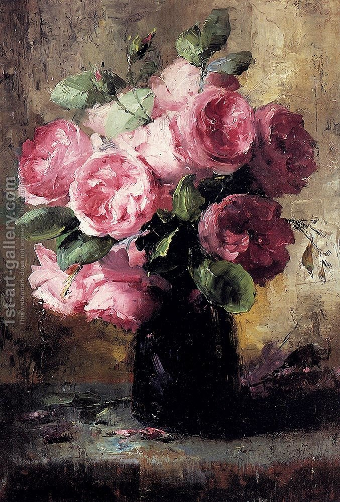 Pink Roses In A Vase Frans Mortelmans Reproduction 1st Art Gallery