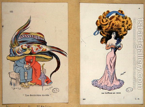 La Derniere Mode, fashion plates caricaturing hair and hat styles ...