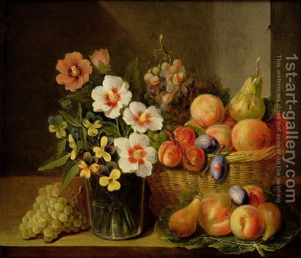 still life of flowers in a vase and fruit in a basket pieter snyers