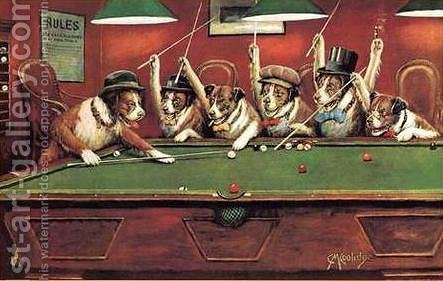 Dogs Playing Pool By Cassius Marcellus Coolidge   Reproduction Oil Painting