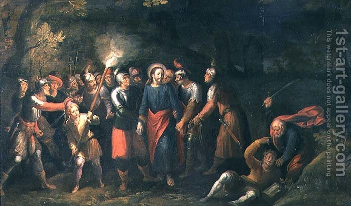 christ in the garden of gethsemane. Christ In The Garden Of Gethsemane By Hans III Jordaens - Reproduction Oil Painting