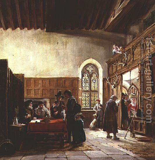 The Interior Of The Great Hall Haddon Rent Day By John Callcott Horsley    Reproduction Oil