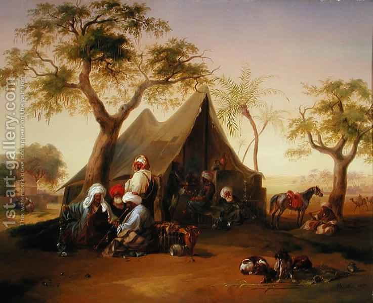 Sheiks drinking Coffee in Front of a Tent by Joseph Heicke - Reproduction Oil Painting & Sheiks drinking Coffee in Front of a Tent Joseph Heicke ...