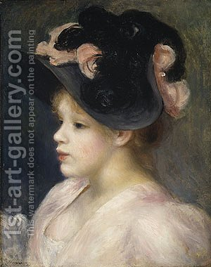 painting girl with hat Renoir