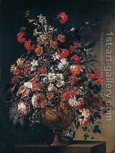 A Still Life Of Various Flowers In An Ormolu Vase With Putti Dei