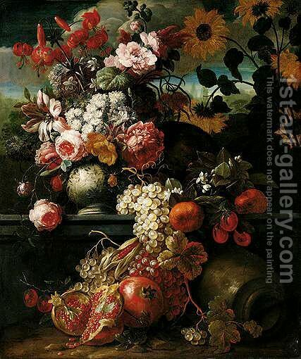 A Still Life Of Roses Tulips And Other Flowers In A Porcelain Vase