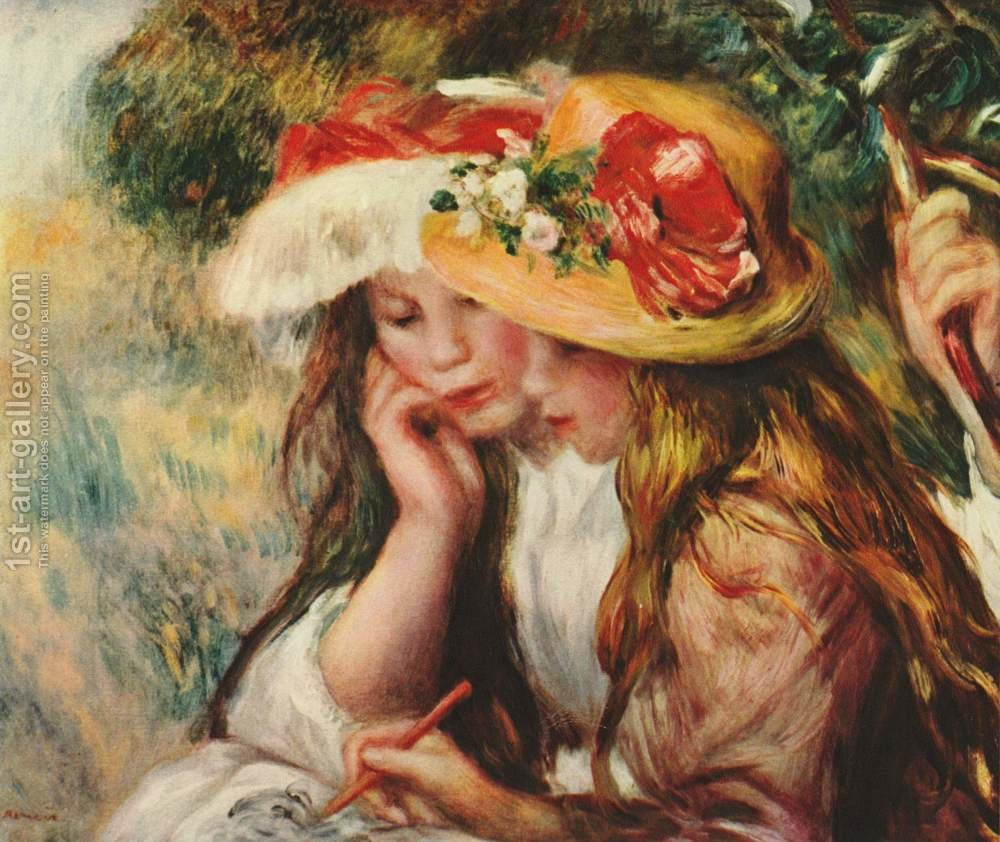 two girls reading in a garden by pierre auguste renoir reproduction oil painting - The Girls In The Garden