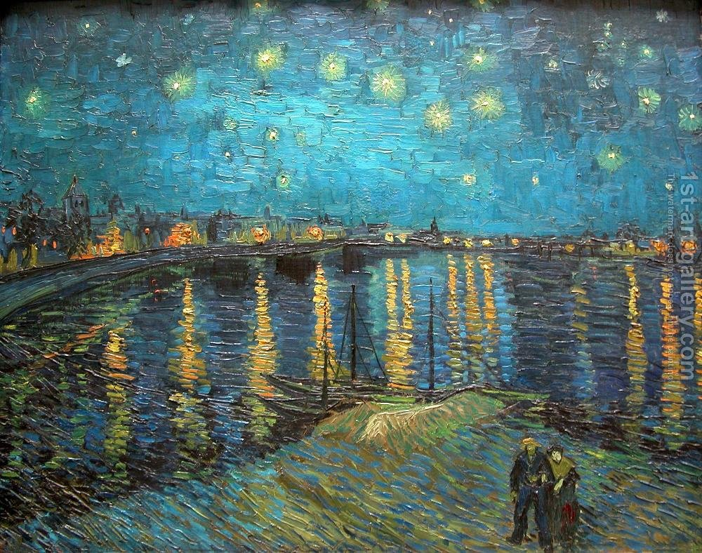starry night over the rhone vincent van gogh reproduction 1st art gallery. Black Bedroom Furniture Sets. Home Design Ideas