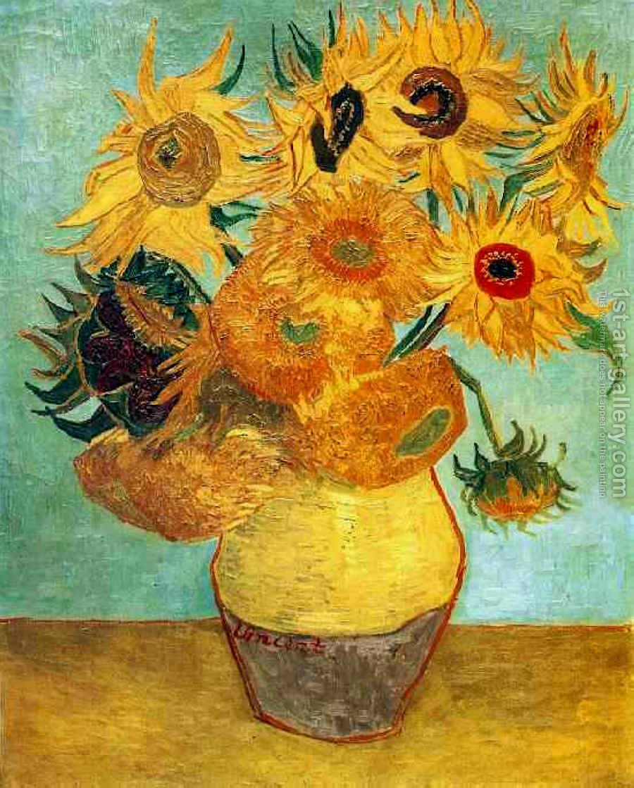 Vase with twelve sunflowers ii vincent van gogh reproduction 1st vase with twelve sunflowers ii by vincent van gogh reproduction oil painting reviewsmspy
